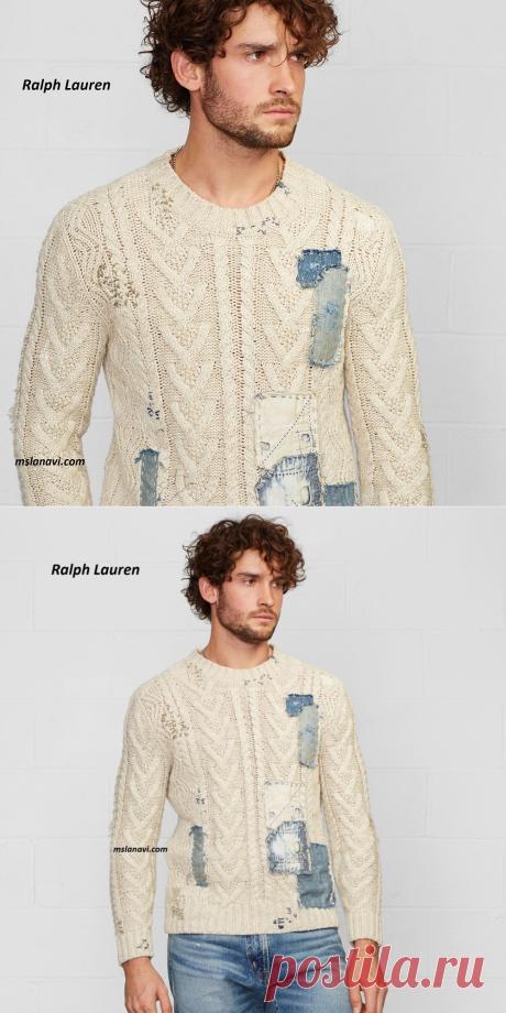 Пуловер с оригинальным декором от Ralph Lauren | Вяжем с Лана Ви