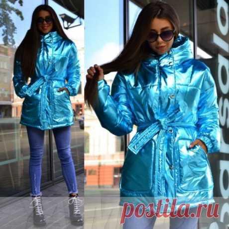 Куртка блестящая с поясом купить недорого