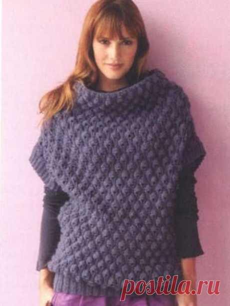 Пуловер без рукавов из толстой пряжи   Ажурные Узоры