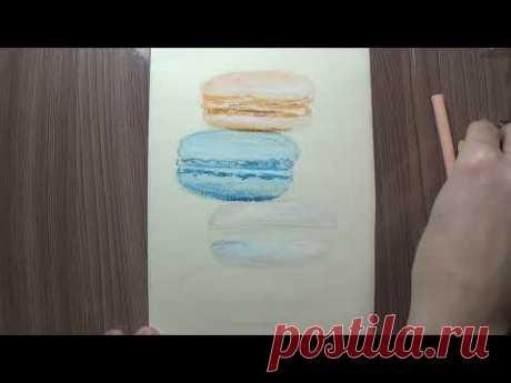 Как нарисовать макаруны пастелью. How to draw macaroons with pastel