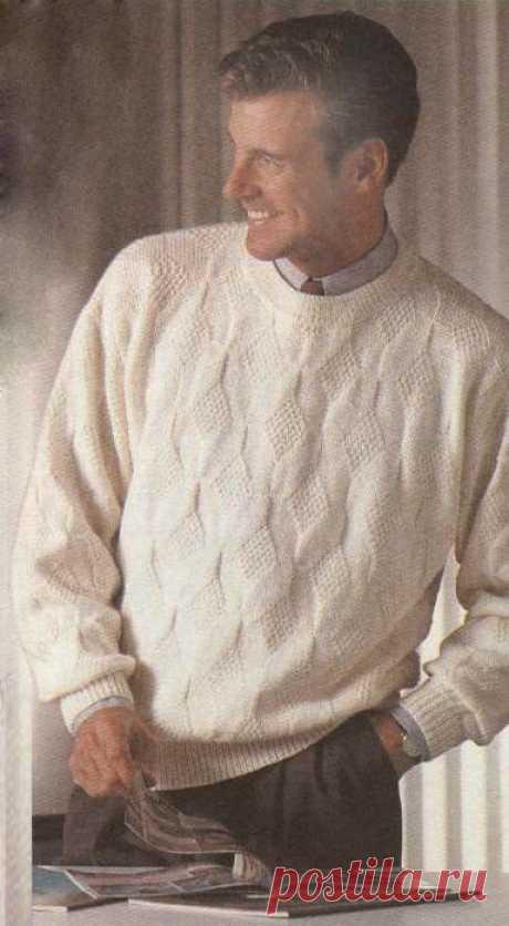 Вязаный мужской пуловер с рельефным узором. Вязаный мужской пуловер с рельефным узором. В статье представлены подробное текстовое описание вязания спицами данной модели и схема узора.