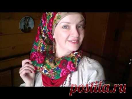 Как красиво завязать платок на голове.Красивый фасон платка в комплект к укаринской вышиванке