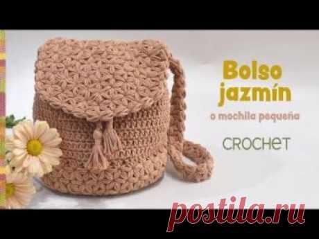 Bolso-mochila Jazmín tejido a crochet - Patrones gratis