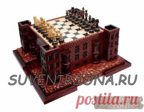 """Купить шахматы из кедра настольные """"Крепость"""" с резными фигурами"""