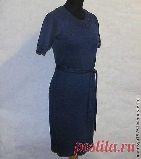 Платье цвета ночного неба - платье,платье вязаное,Машинное вязание,машинная вязка