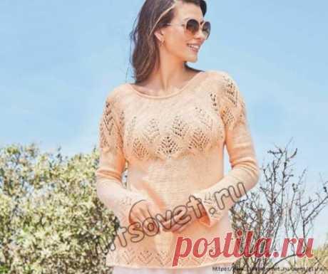 Весенний пуловер с круглой кокеткой Вязание спицами для женщин весеннего пуловера с круглой кокеткой со схемами и пошаговым бесплатным описанием. Размеры пуловера: 36-38 (40-42, 44-46). Вам потребуется: 400 (450, 500) грамм абрикосовой пряжи, состоящей из 70% хлопка, 30% микроволокна; длиной нити 140 метров в 50 граммах; спицы № 3,5; круговые спицы № 3,5; крючок № 3. Узор 1: лицевая гладь = лицевые ряды – лицевые петли, изнаночные ряды – изнаночные петли. Круговые ряды: только лицевые пе