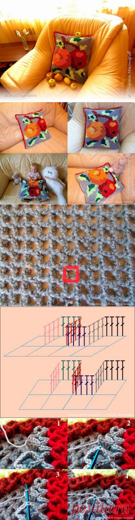 """Объёмное вязание: подушка """"Яблоки"""""""