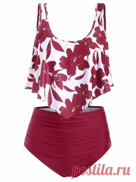 [40% OFF] 2020 Floral Flounce Ruched Tankini Swimsuit In RED | DressLily