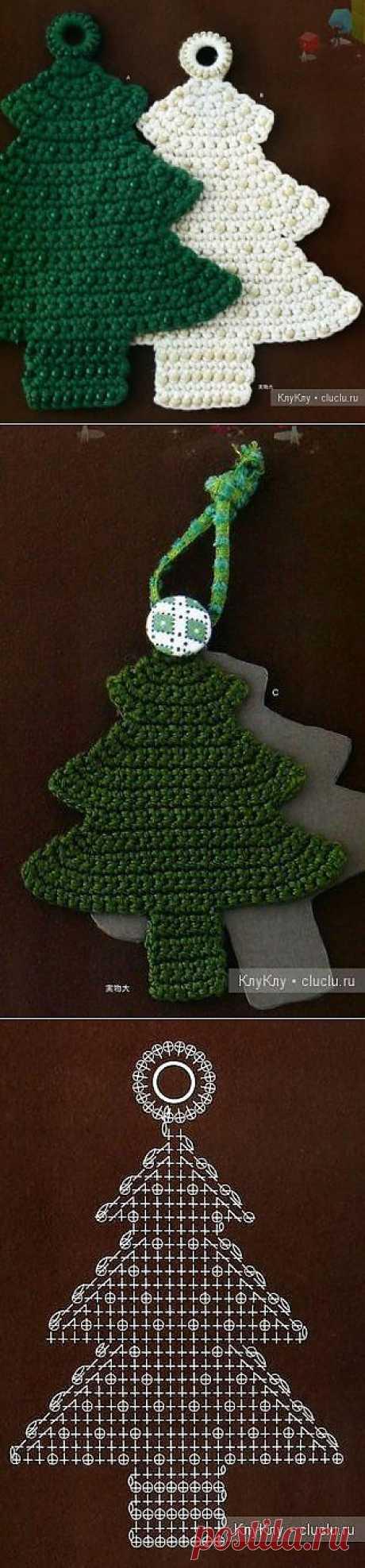 Елочка - украшение на елку своими руками, вязание крючком / Оригинальные поделки, сувениры из бумаги, картона, из природных материалов / КлуКлу. Рукоделие - бисероплетение, квиллинг, вышивка крестом, вязание