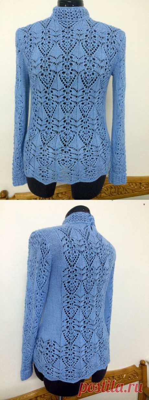 Blue openwork pullover.