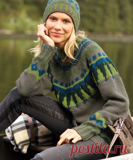 Джемпер с цветной жаккардовой кокеткой - схема вязания спицами. Вяжем Джемперы на Verena.ru