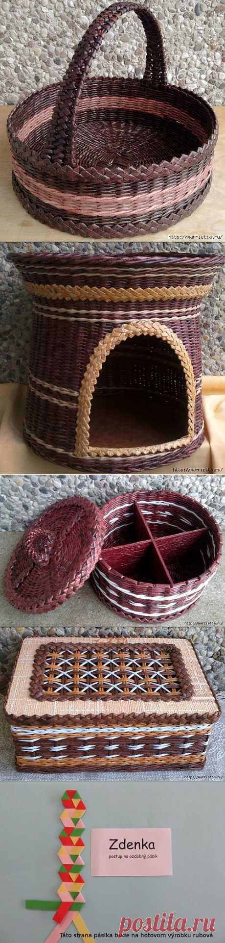 Плетение из газет. Мастер-класс и примеры применения фигурной косички.