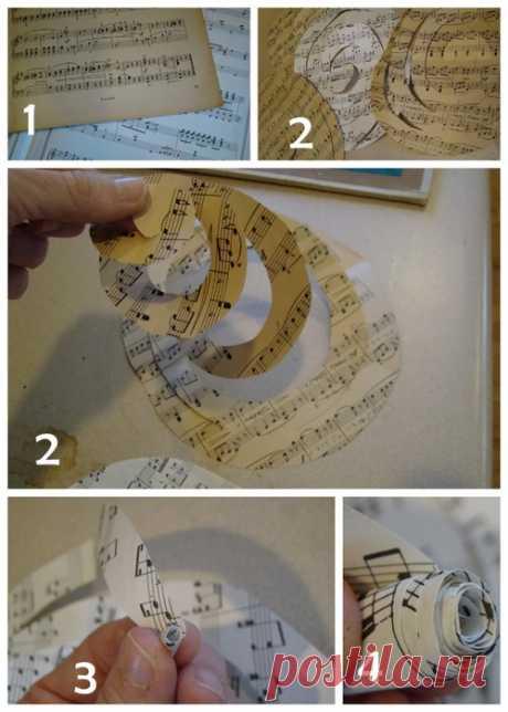 Спиральные розочки из книжных и нотных страниц. Идеи и МК