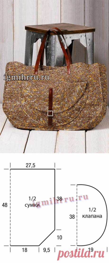 Вместительная сумка с карманом связана крючком.