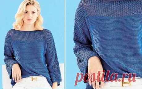 Летний пуловер с цельновязанными рукавами