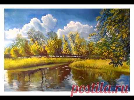 Как нарисовать летний пейзаж гуашью или акрилом/How to paint a summer landscape with gouache