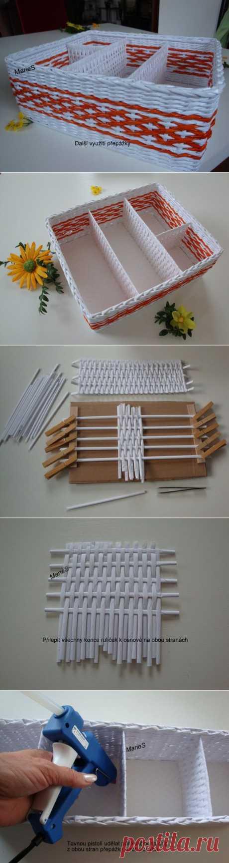 Как сделать коробочку с перегородками: плетение из бумажных трубочек | Умелые ручки