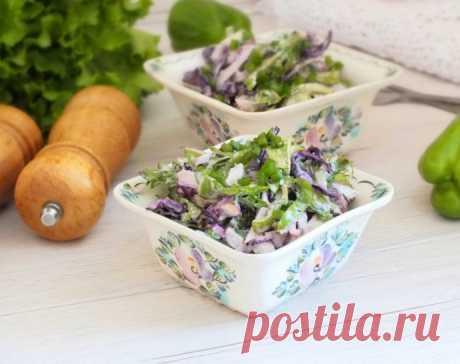 Салат с копченой курицей и капустой