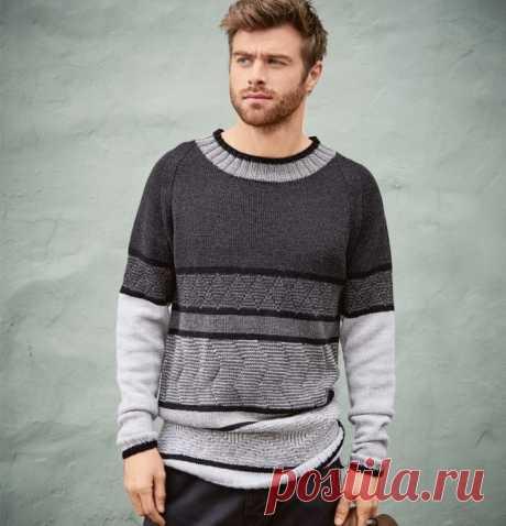 Вяжем жаккардовый свитер для мужчин из категории Интересные идеи – Вязаные идеи, идеи для вязания