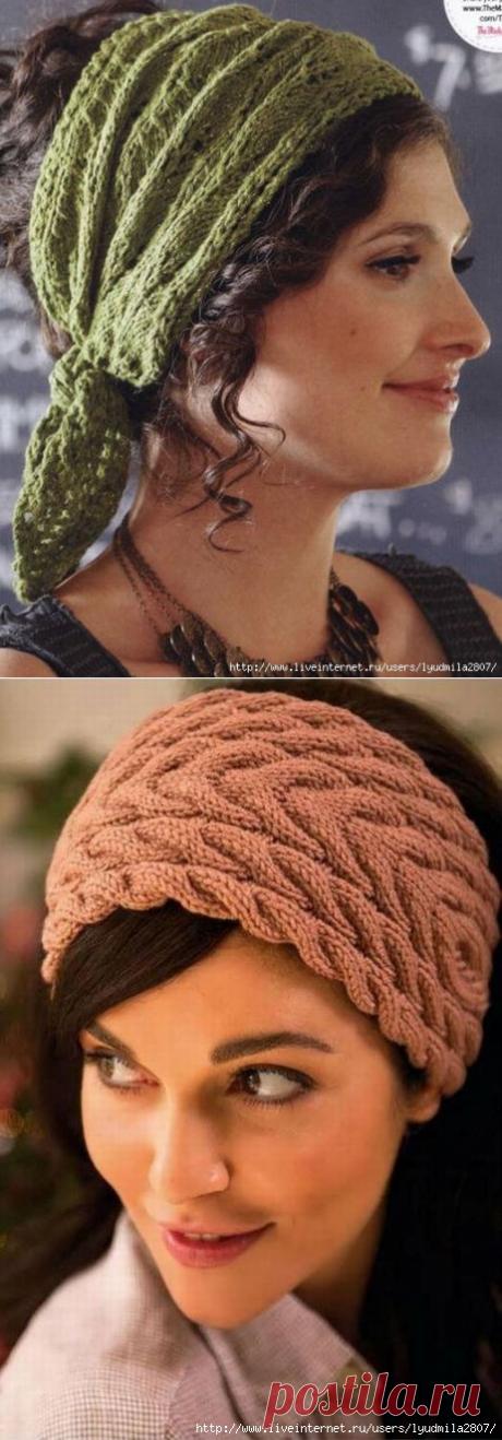 Красивые повязки на голову (спицы).