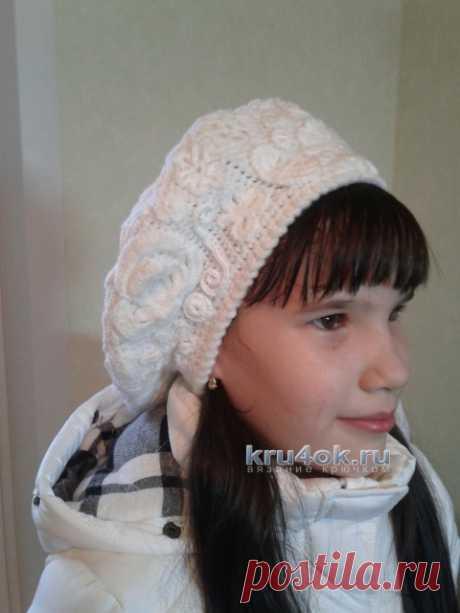 Берет крючком для девочки, 30 моделей с описанием и схемами вязания