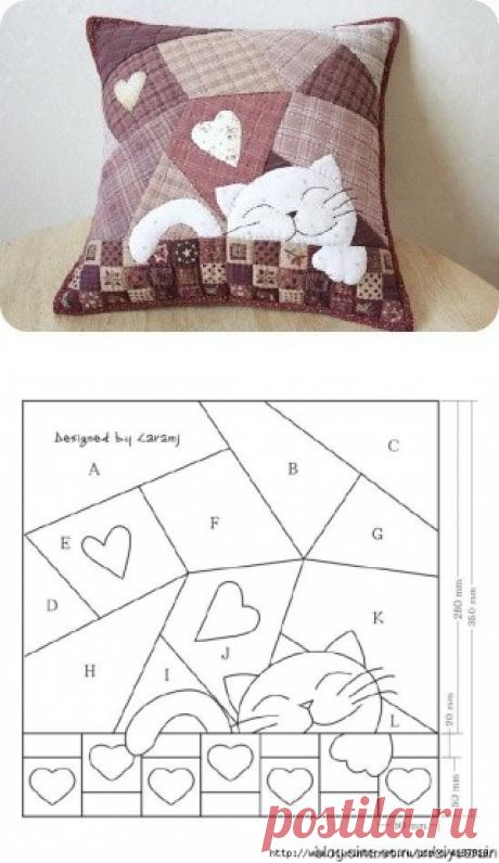 Шьем подушку в стиле пэчворк — Сделай сам, идеи для творчества - DIY Ideas