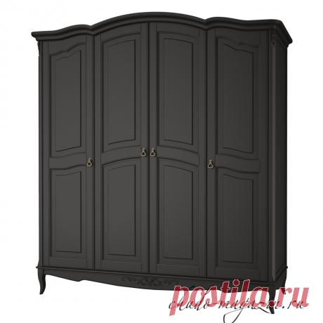 Распашной шкаф черный 4-х дверный классический