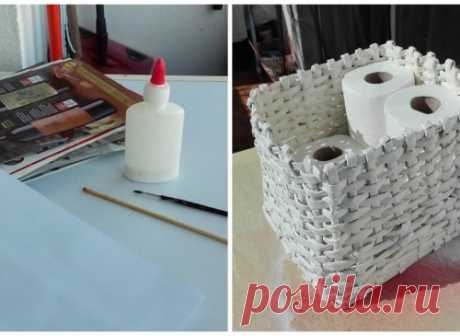 How to weave a basket out of old magazines and to make it more abruptly, than in magaziner