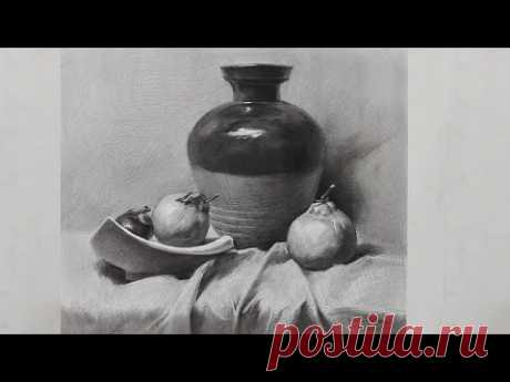Learn to draw Still liffe in Charcoal pencil