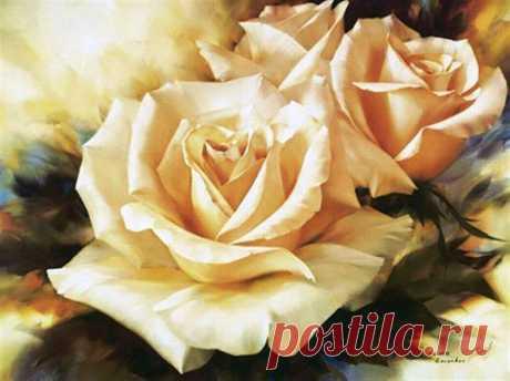 Рисуем розу гуашью   Изотика