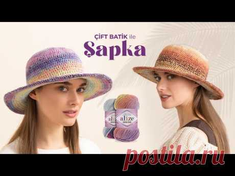 Alize Cotton Gold Batik ile Şapka Yapımı • Summer Hat Tutorial • ВЯЗАНИЕ ШАПКИ