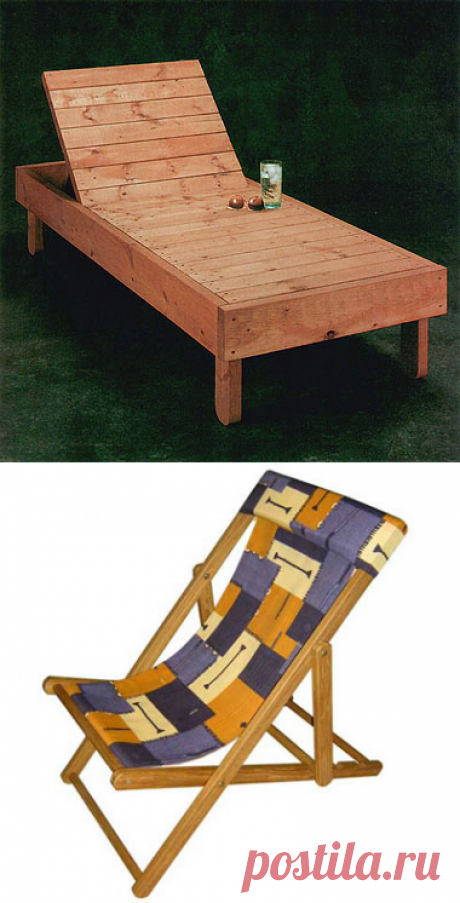 How to make for giving a plank bed, a chaise lounge and a swing the hands