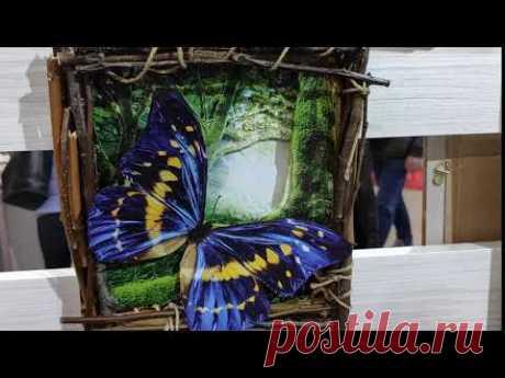 Объёмная картина папертоль: Бабочка (голубая) - YouTube