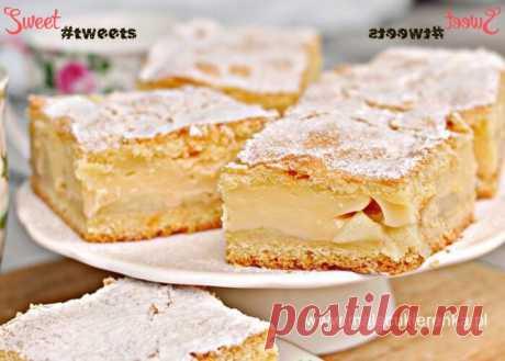 Шарлотка с яблоками и заварным кремом | Sweet Twittes