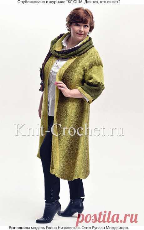 Пальто «Оливковая роща» спицами с асимметричными полочками. - Пальто для женщин спицами - Вязание спицами - Каталог статей - Вязание спицами и крючком