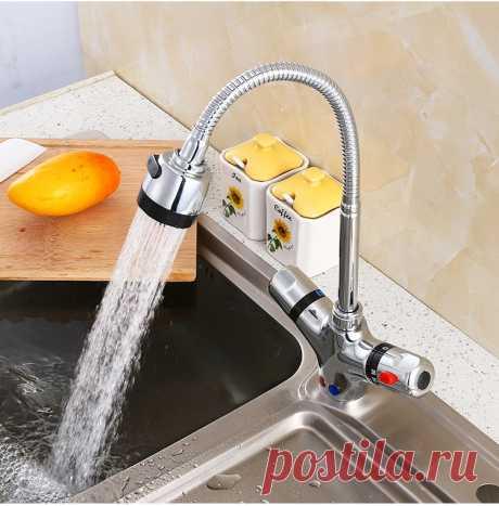 Смеситель для кухни GIZERO, термостатический, гибкий, с контролем температуры, ZR986|deck mounted|deck mounted faucetfaucet hot and cold | АлиЭкспресс