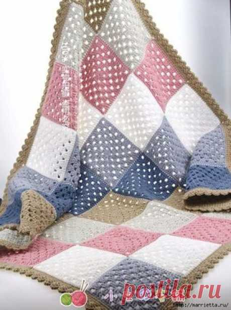 Плед из классического бабушкиного квадрата. Схема