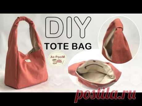 DIY CANVAS TOTE BAG // วิธีทำกระเป๋าผ้าแคนวาสสายผ้าในตัว - YouTube