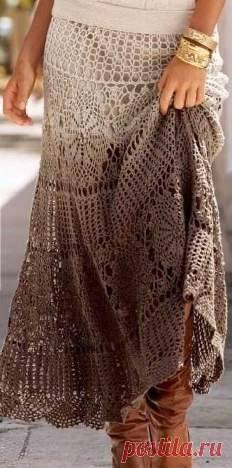 Модели вязания со схемами и описаниями: Стильная вязаная юбка