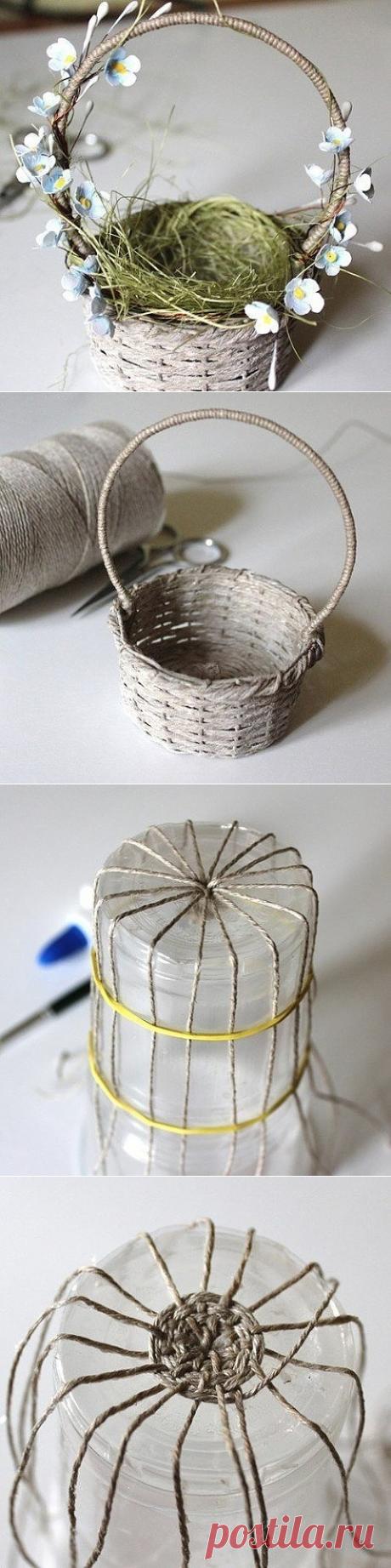 Простой способ плетения корзинки из джута