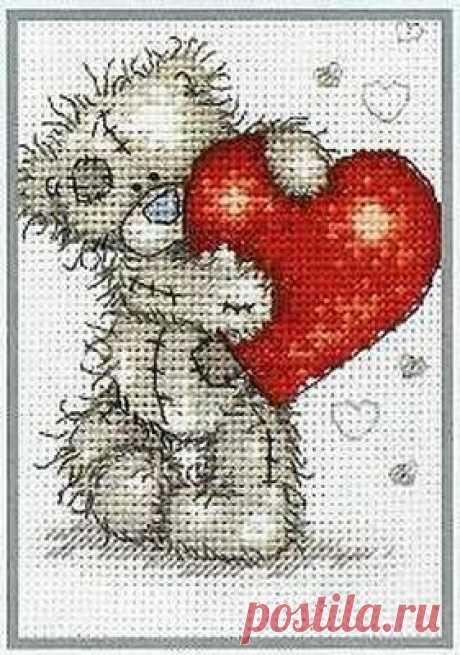 """Вышивка """"Плюшевый мишка с сердечком"""""""