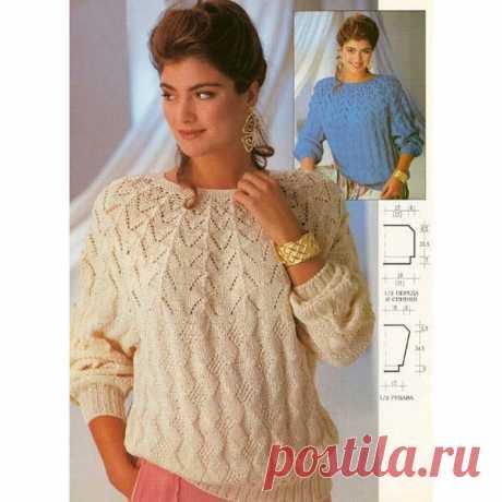 Джемпер на круглой кокетке, снизу вверх, спицами. / knittingideas.ru