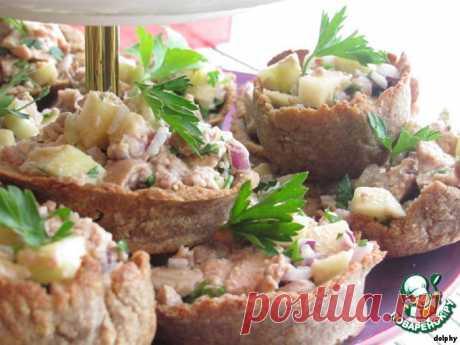 Корзиночки из черного хлеба с печенью трески. Автор: dolphy