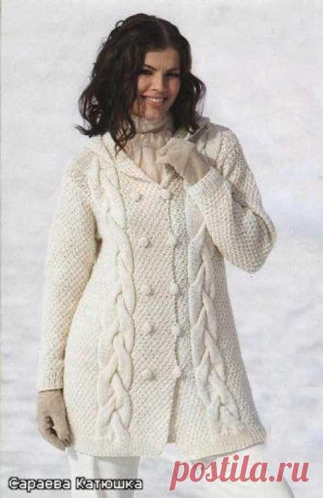 Жакет с капюшоном (спицы) | Вязание крючком и спицами