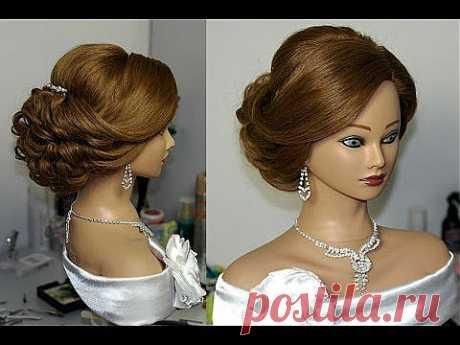 Bridal updo. Hairstyles for long medium hair. Свадебная прическа, вечерняя прическа. - YouTube
