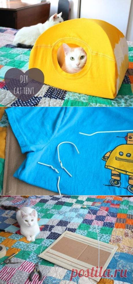 Котодомик из старой футболки — Сделай сам, идеи для творчества - DIY Ideas