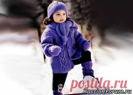 Комплект для девочки (жакет, шапочка, гетры, варежки и шарф)