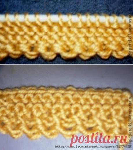 Декоративный набор петель при вязании спицами
