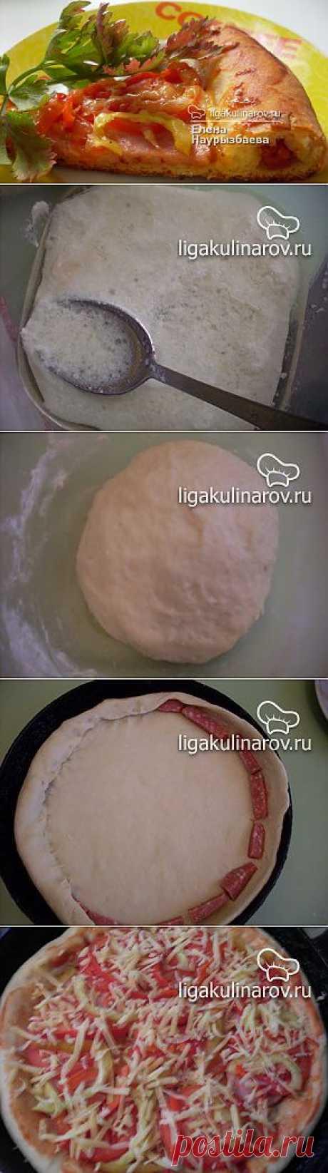 Пицца на кефире рецепт пошаговый от Лиги Кулинаров. Рецепт пиццы на кефире, рецепты Лиги Кулинаров.