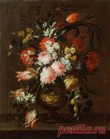 Giuseppe Vicenzino (active 2nd half 17th cent.) Vase of Flowers and a Tulip Hanging Down to the shelf oil, canvas